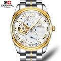 Carnival Tourbillon часы мужские роскошные золотые автоматические механические часы бизнес открытые Мужские часы Мужские наручные часы kol saati