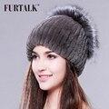 Gorros de inverno chapéu de pele para as mulheres de malha coelho rex fur hat com sliver fox fur top tamanho livre das mulheres chapéu