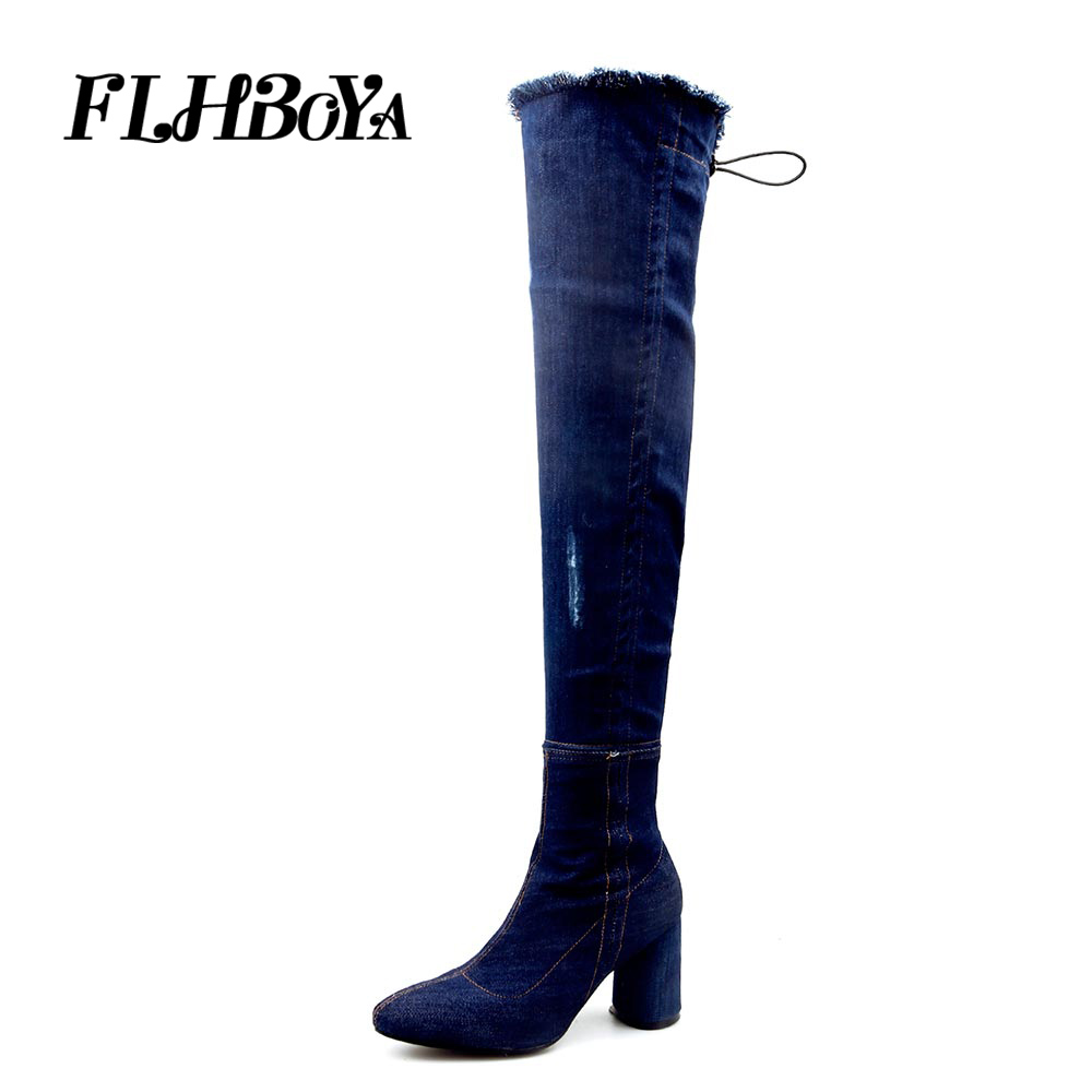 FLHBOYA Women Slim Over-The-Knee Winter Warm Thigh High Boots Ripped jeans Denim Mid High Heels Botas Mujer Shoes Big size 34-43 ripped cuffed jeans