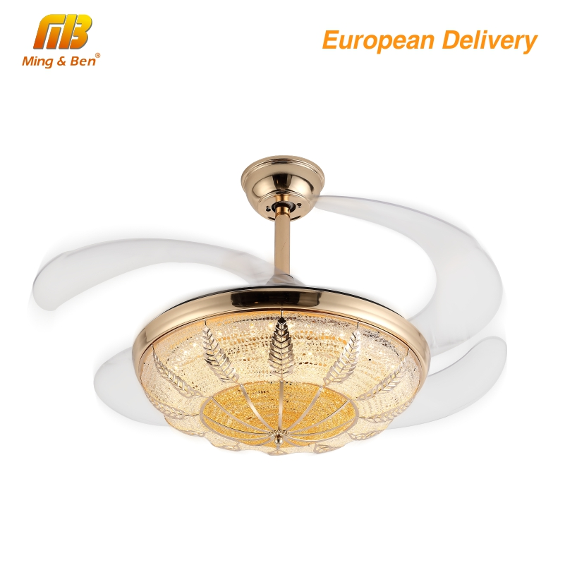 [MingBen] Modern Led Lamp Crystal Chandelier Fan Lights Dining Living Room Minimalist Restaurant Home Fan With Remote Control
