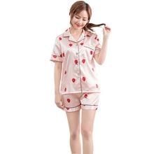 Nwe pajamas women summer strawberry print silk satin pajama pink top short sleeve casual woman sleepwear pyjama set pijama mujer недорого