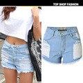 Jeans rasgado Para As Mulheres da American Apparel Europa 2017 Plus Size Verão nova Usina De Lavagem Para Fazer O Velho Ondulação Shorts Jeans Cintura