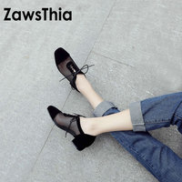 ZawsThia 2019 spring summer air mesh hallow lace up woman shoes square low heels casual oxford women brogue shoes big size 43 42