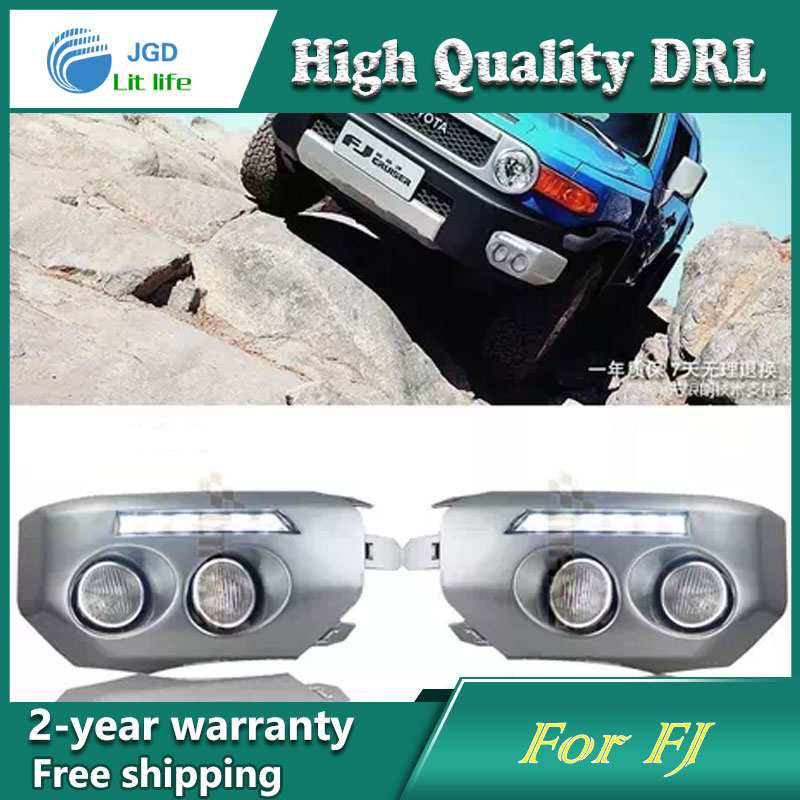 Free shipping ! 12V 6000k LED DRL Daytime running light case for Toyota FJ cruiser Fog lamp frame Fog light Car styling