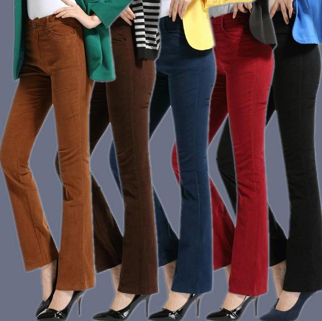 c3927e04670 Women corduroy OL Pant stretch Trousers Casual High Waist Flare Long Pants  Loose Plus Size 4XL