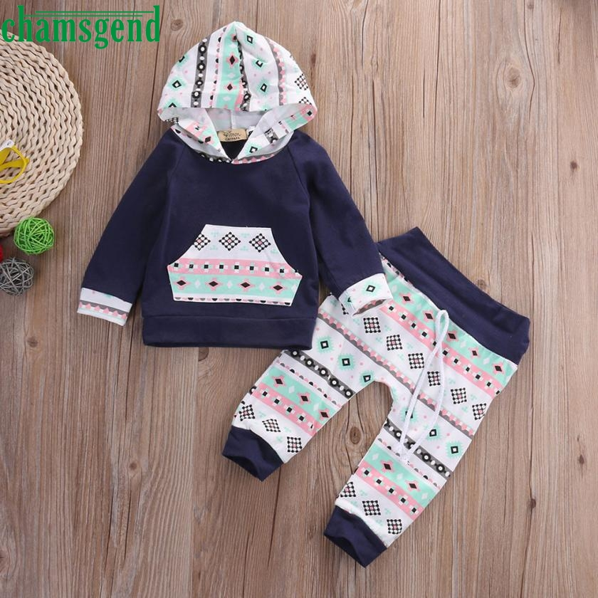 2017 cute Navy Toddler Infant Baby Girl Boy Clothes Set Full Geometric Hooded Tops Pants Outfits