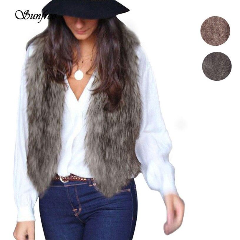Women Vest Sleeveless Coat Outerwear Hair Jacket Waistcoat Casaco De Pelo capa sin mangas del largo chaleco chaqueta #BG5850