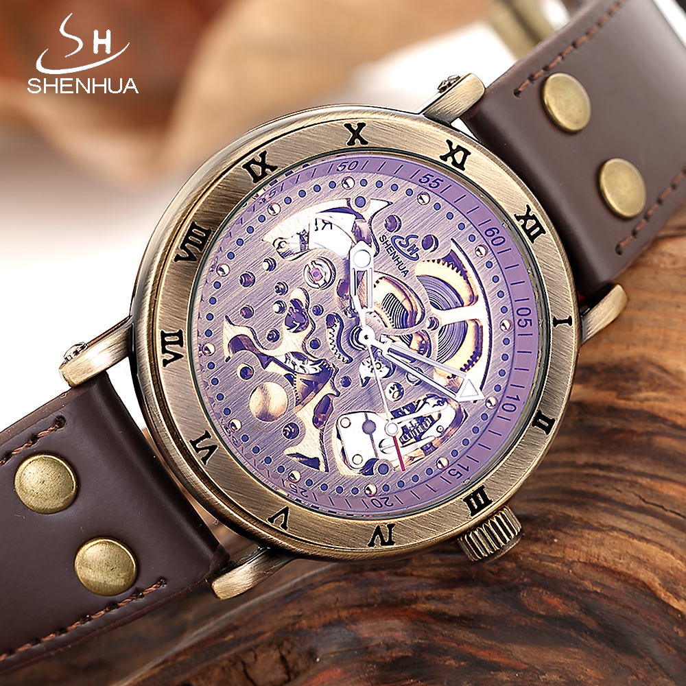 SHENHUA 2018 reloj mecanico Skeleton Watch Men Bronze Mechanical Automatic Transparent Watches Male Luminous Hands WristWatch цена и фото