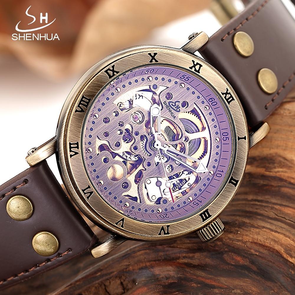 SHENHUA 2018 reloj mecanico Skeleton Watch Men Bronze Mechanical Automatic Transparent Watches Male Luminous Hands WristWatch все цены