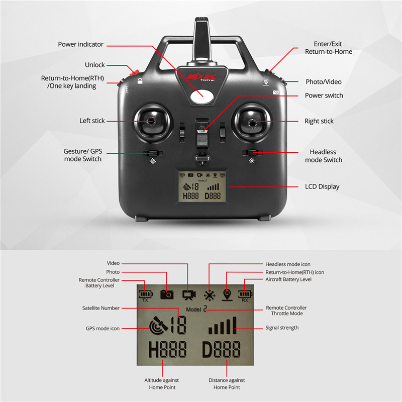 Black and Red Mini RC Quadcopter Drone MJX B2W Quadcopter Rollover Headless Model Remote Control Helicopter Dron