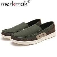 Merkmak Canvas Men Flats Shoes Lesisure Handmade Loafers Comforatable Male Shoes Slip On Footwear Plue Size