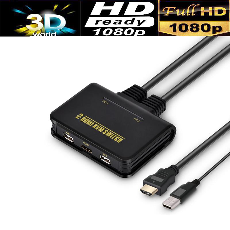 Prix pour 2-port usb hdmi kvm switcher sélecteur usb2.0 + hdmi 1080 p avec souris et clavier pris en charge
