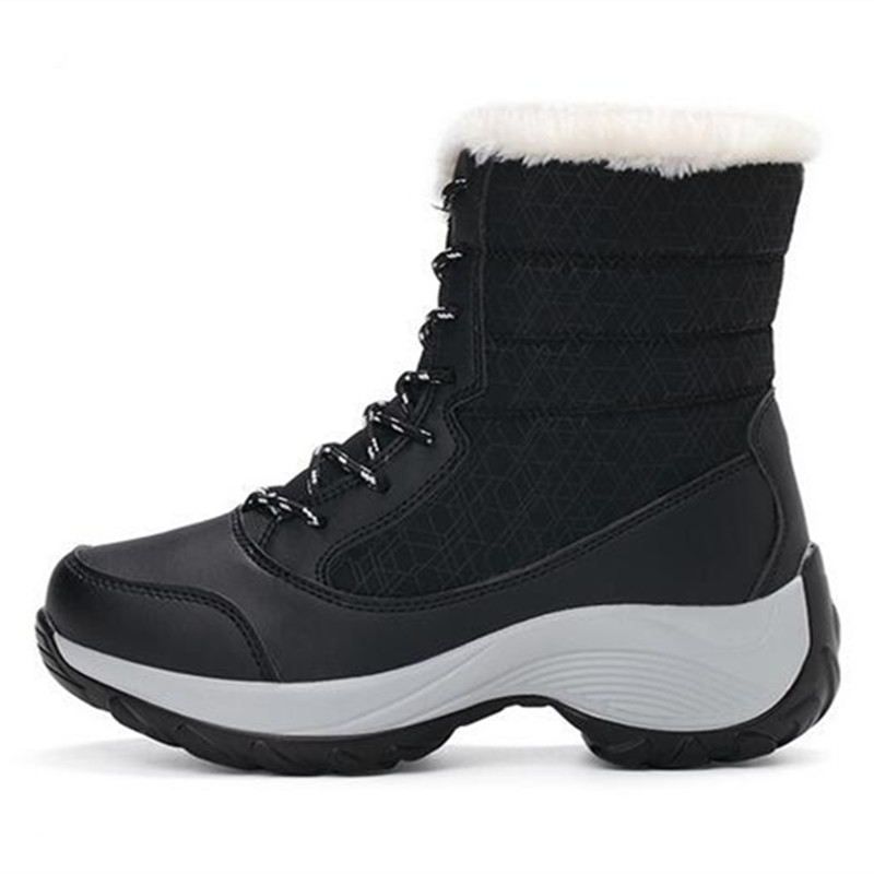 Piel 41 Plataforma Botines Las Grueso Gruesas Cálido Mujeres 2017 negro Tamaño rojo Botas 35 Zapatos Algodón Beige Impermeable Invierno De Fondo Nieve azul PnvUWYq6Ww