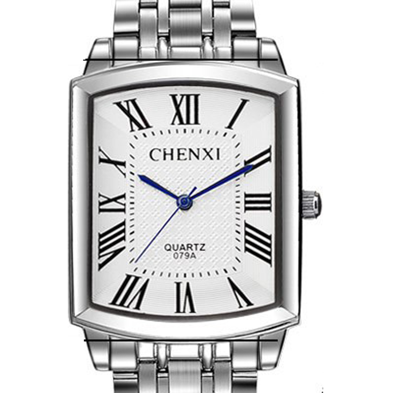 CHENXI Brand Fashion Classic Square Dial Couple Lovers Quartz Wristwatch Delicate Luxury Steel Strap Men Watch Women Full Steel