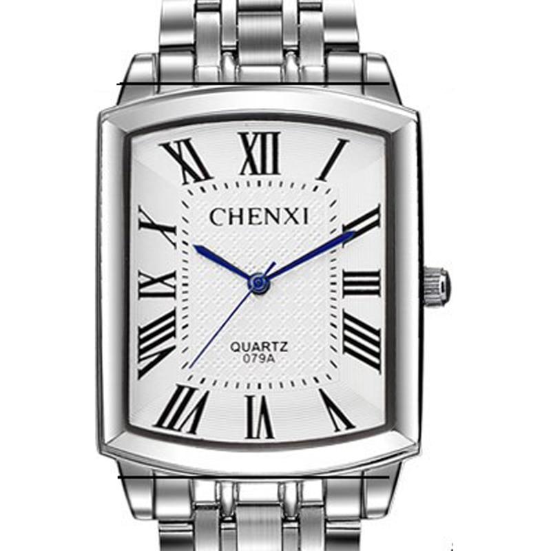 CHENXI Brand Fashion Classic Square Dial Couple Lovers Quartz Wristwatch Delicate Luxury Steel Strap Men Watch Women Full Steel