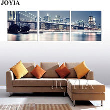 New York City Night Skyline Wall Art Pictures Beautiful Modern Brooklyn Bridge Painting Canvas Prints 3 Piece/Set With NO FRAMES(China)