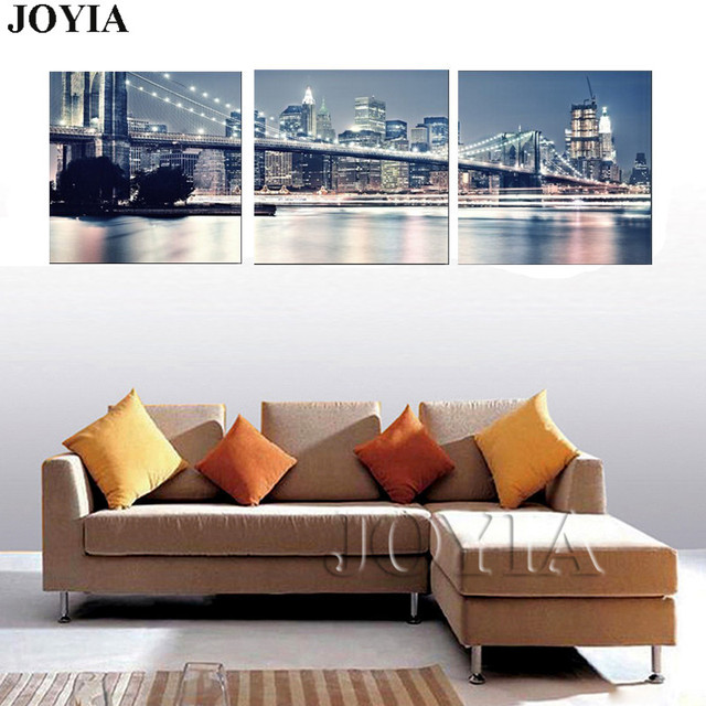 New York City Night Skyline Wall Art Pictures Beautiful Modern ...
