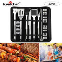 ICESTCHEF 20Pcs/Set Stainless Steel BBQ Tools Set Outdoor Picnic Camping BBQ Brush Knife Fork Shovel with Storage Bag