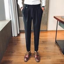 Мужские брюки, костюм, брюки для мужчин, офисные брюки для мужчин, черные нарядные брюки, формальные облегающие Вечерние брюки, костюм для мужчин