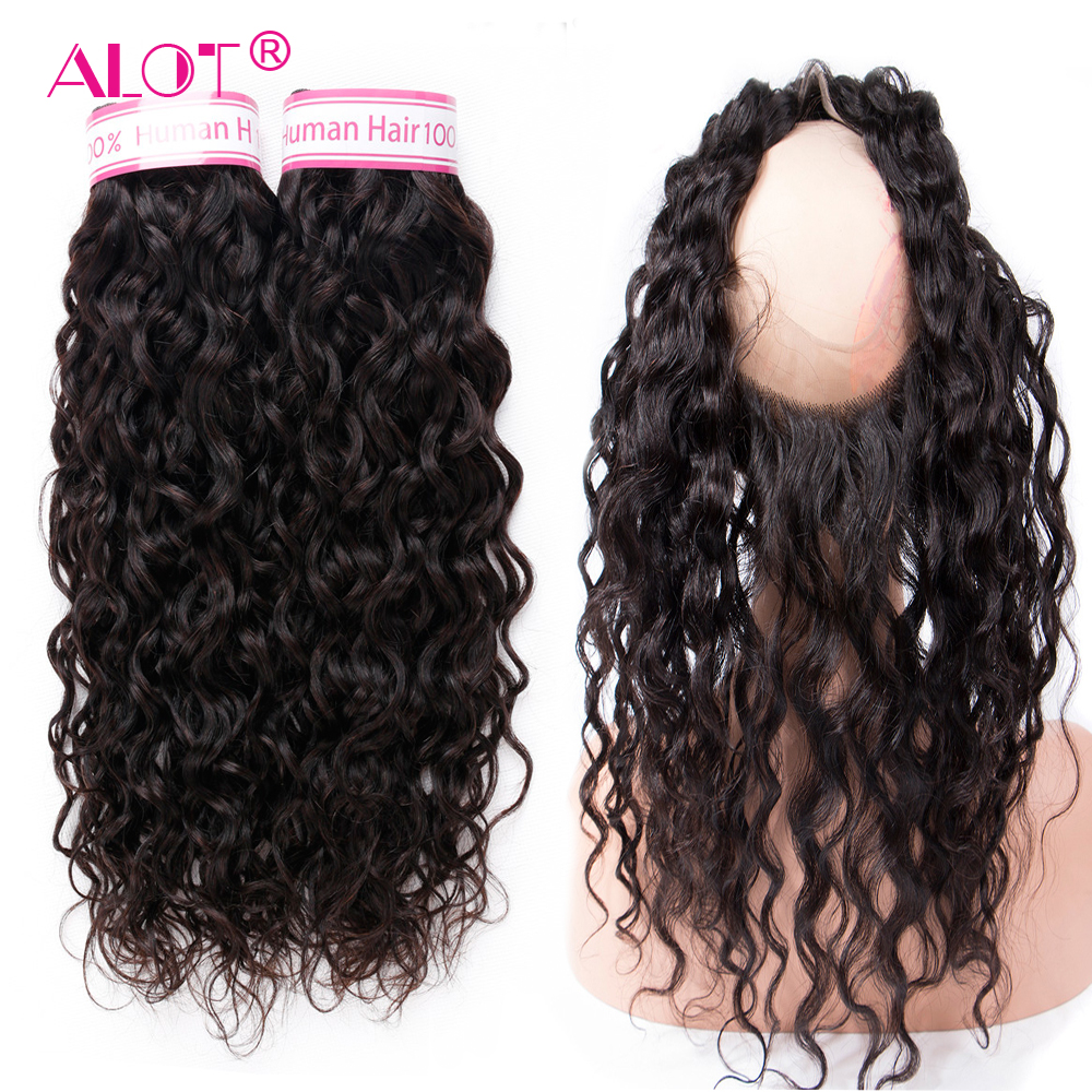 ALot Brazilian Water Wave Human Hair Bundles With 360 Lace Frontal Hair Weaving Non Remy 360