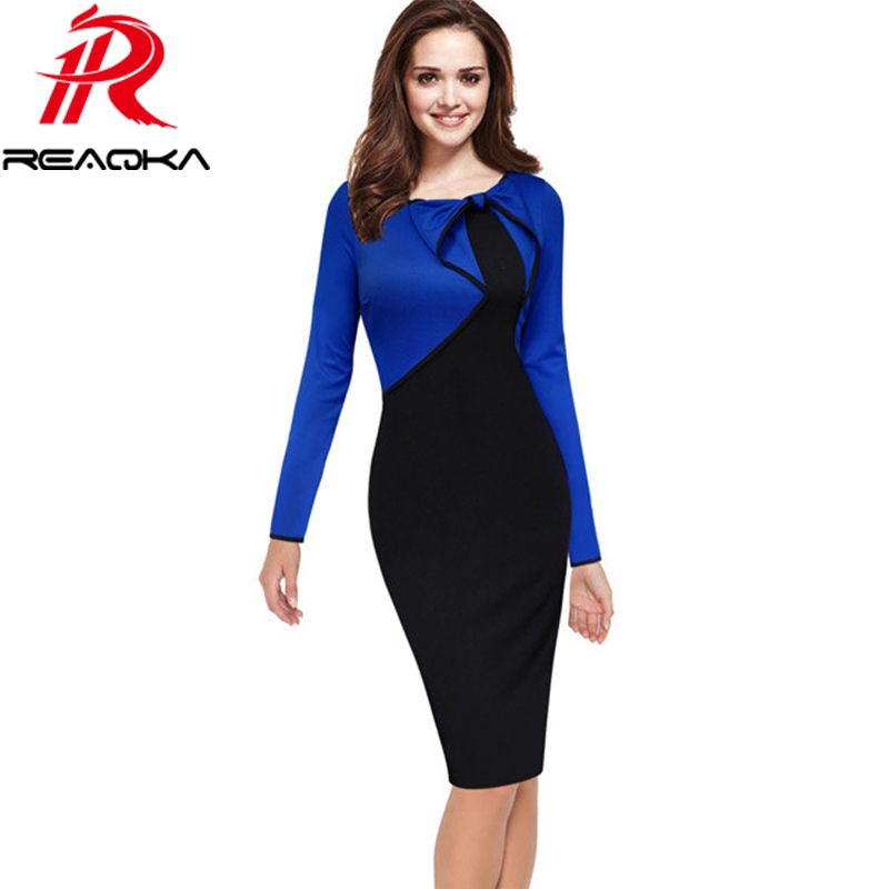 3d6209ec0 Reaqka Women Vintage Office Work Clothes 2018 New Elegant Bow Party Work  Sheath Bodycon Wiggle Stitching