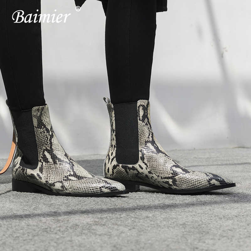 Baimier Patent Leather Snake Ankle Boots For Women Low Heel Women Chelsea Boots Casual Slip On Warm Plush Winter Shoes Woman