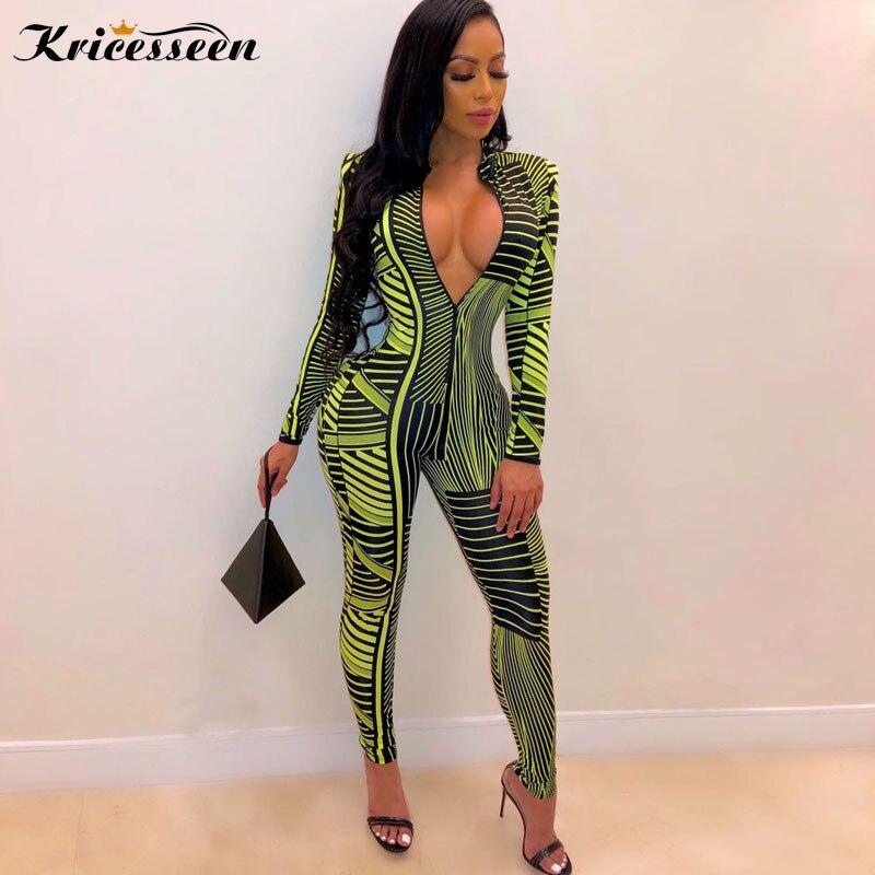 YONGM Women Geometric Print Bandage Bodycon Long Jumpsuits Romper