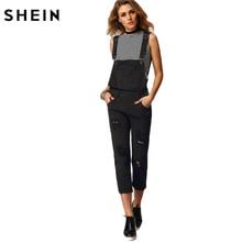 SHEIN Women Jumpsuit Denim Overalls 2016 Spring Autumn Black Strap Ripped Pockets Full Length Denim Jeans Jumpsuit