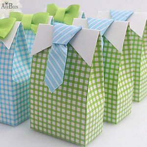 Image 4 - 50 pcs My Little Man Blue  Bow Green Tie Birthday First Communion Boy Baby Shower Candy Bag Wedding Favors Candy Box Gift Bags