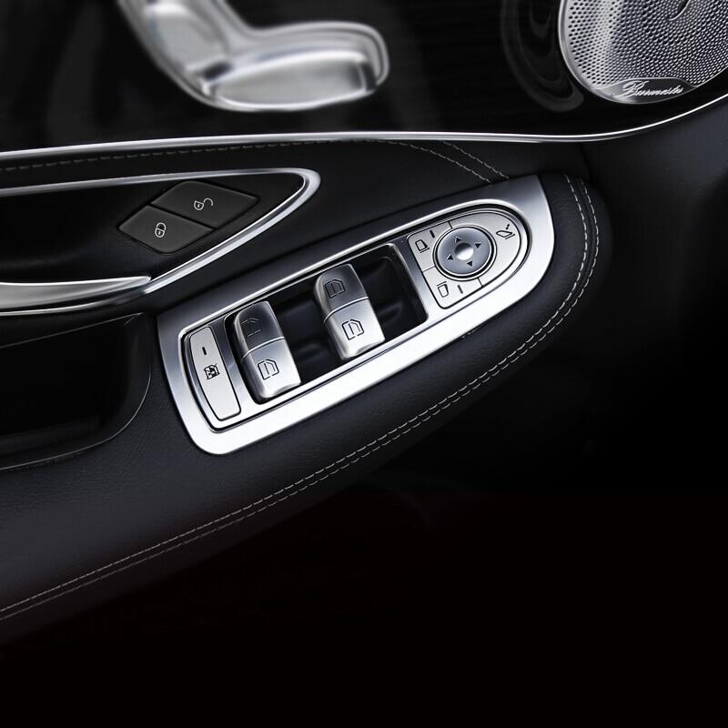 Pour Mercedes Benz GLC 2016 2017 ABS mat intérieur accessoires voiture lève-vitre bouton interrupteur décoration couvercle garniture LHD 4 pièces