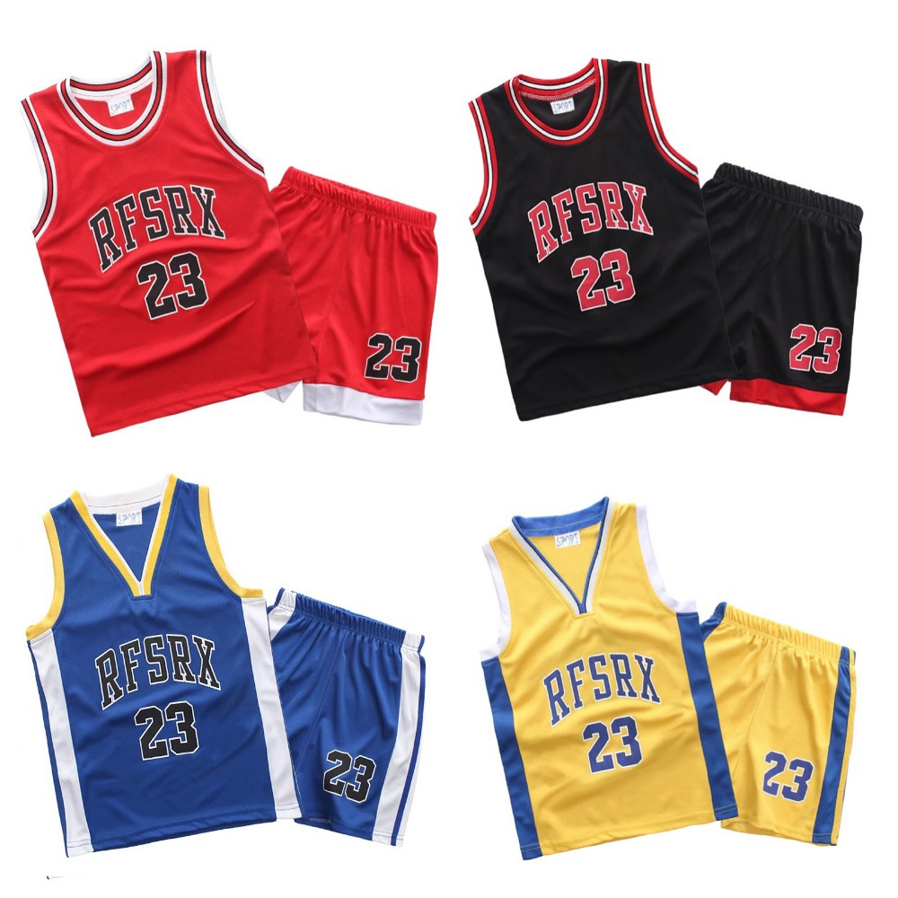 RFSRX 23 Kids Basketball Jersey Suit Boy Girl training Jerseys Kit Shirts & Shorts Set Child throwback basketball jersey Uniform