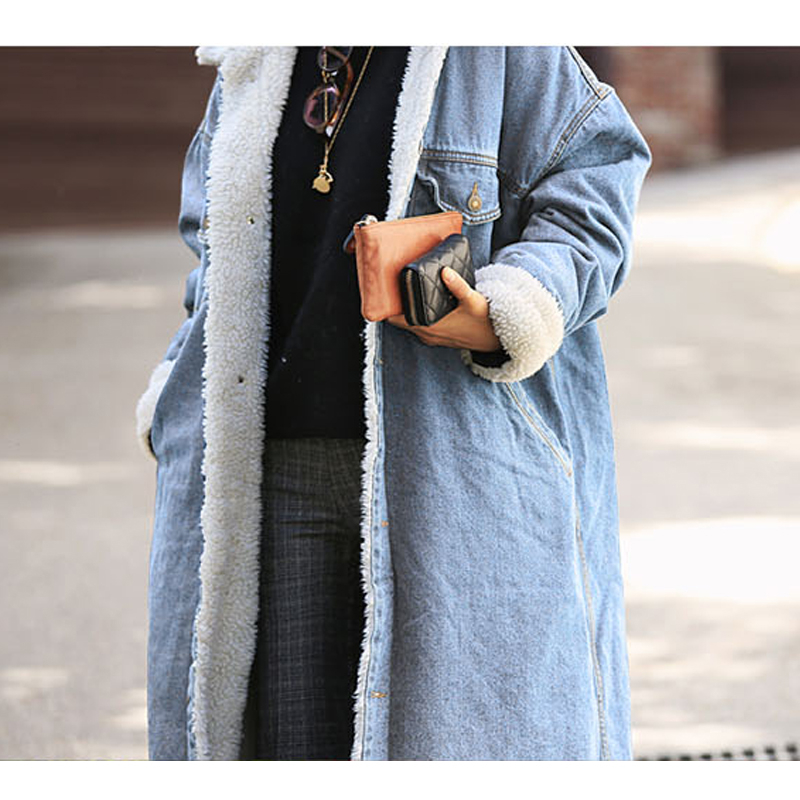 Rugod Thicken X-Long Lamb Velvet Denim Trench Coat Winter Long Trench Coats for Women Single Breasted Design Overcoat Super Warm 1
