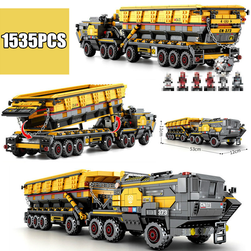 Wandering Earth Bucket Carrier vehicle Headstock truck fit Technic Military SWAT City Building Block Bricks toys