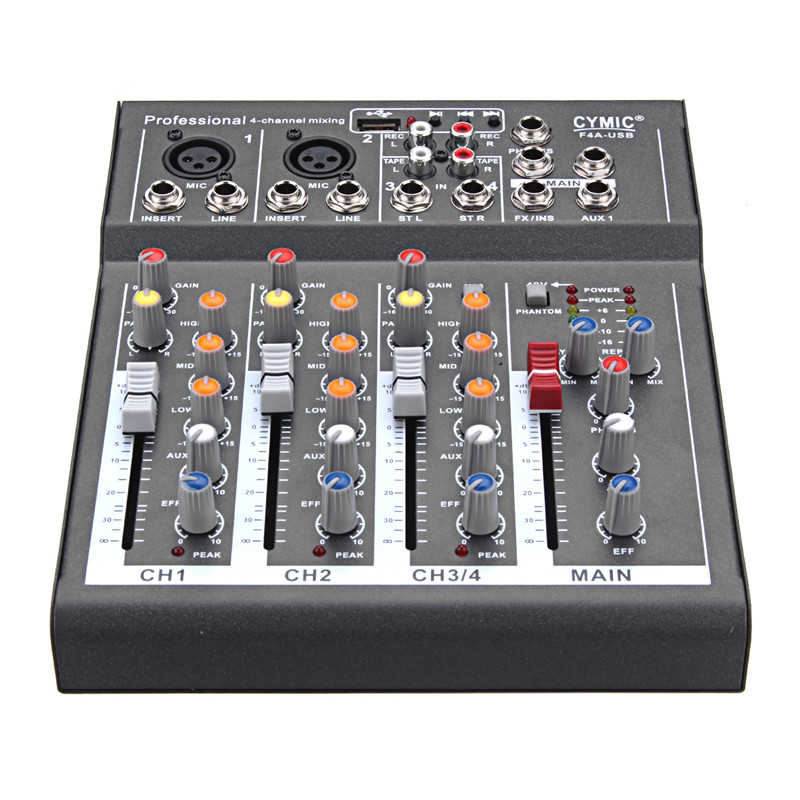 4 Channel Professional Digital Microphone Sound Mixing Console Powered Mixer 110-220V Phantom Power For DJ Karaoke Audio Mix audio mixer cms2200 3 cms compact mixing system professional live mixer with concert sound performance digital 24 48 bit effects