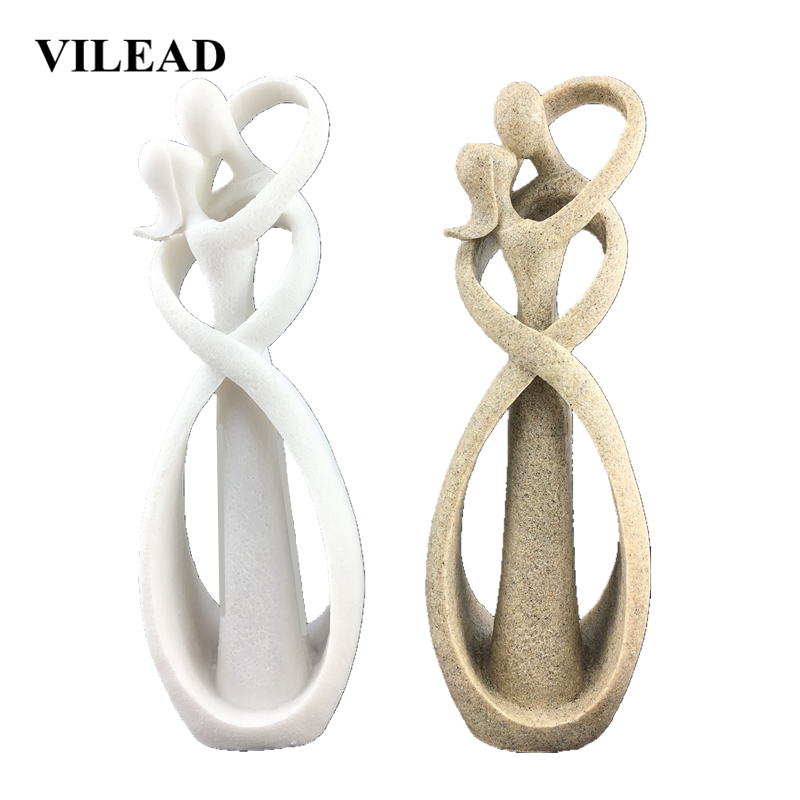 VILEAD 23cm Sandstone Kissing Lover Statuettes Wedding Statue Decoration Anniversary Souvenirs Figurines Ornaments For Home Gift