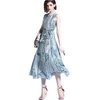 Boho Maxi Sleeveless Summer Print Chiffon Dress Vestidos Mujer 2018 Stylish Elegant Casual Beach Dress Plus
