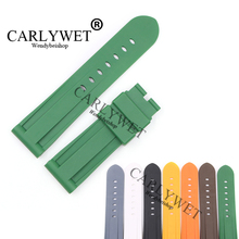 CARLYWET 24mm Grey White Black Yellow Orange Brown Green Waterproof Silicone Rubber Replacement Watch Band For Luminor