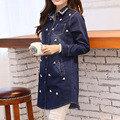 Мода полный рукав с отложным воротником джинсовой пальто с длинными тонкий элегантный кореи прямо синий жемчуг одежда для женщин