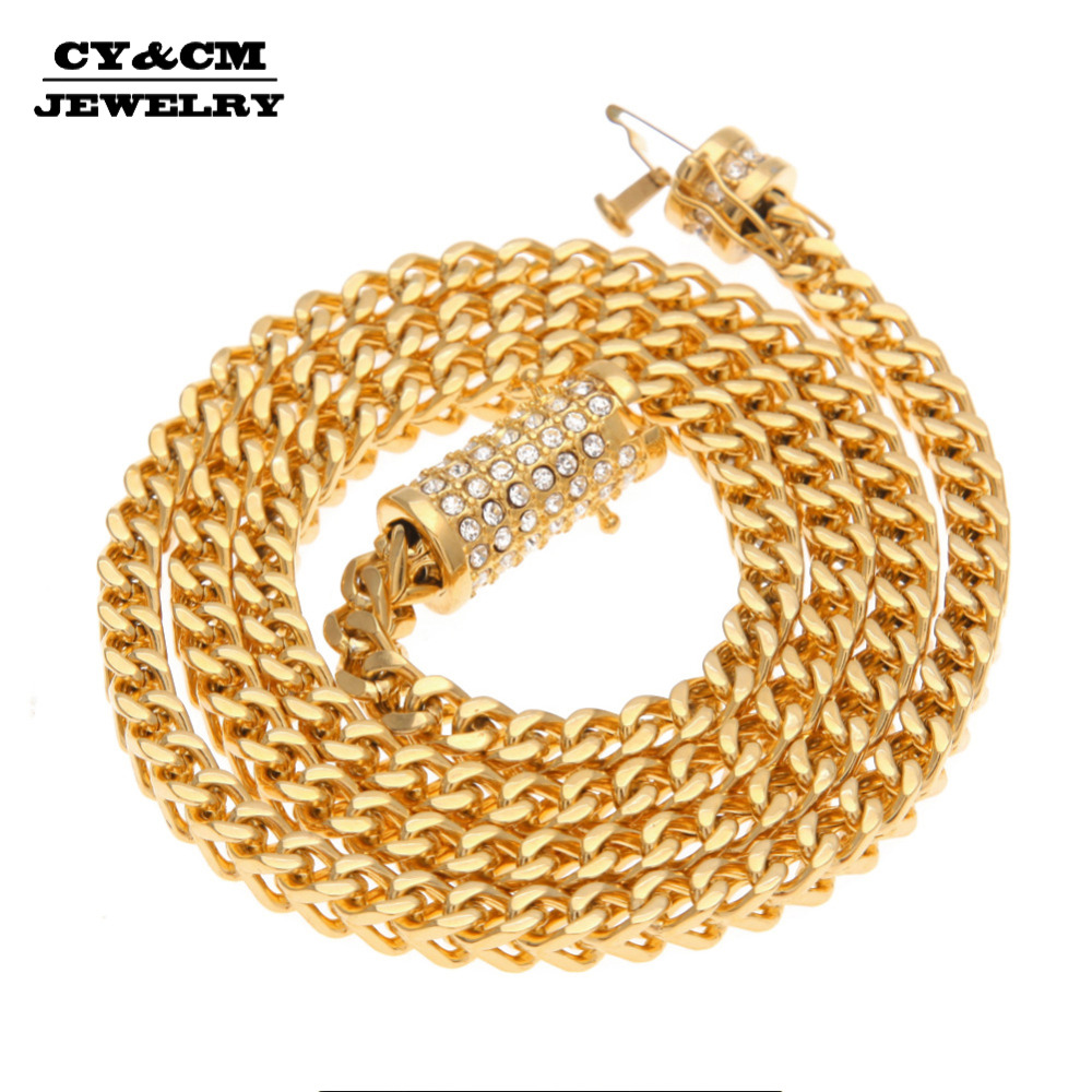 CY&CM 6mm Stainless Steel Wheat Long Franco Chain Gold Silver Plated Necklace Men Hiphop Jewelry Luxury Rhinestone Box Clasp 30