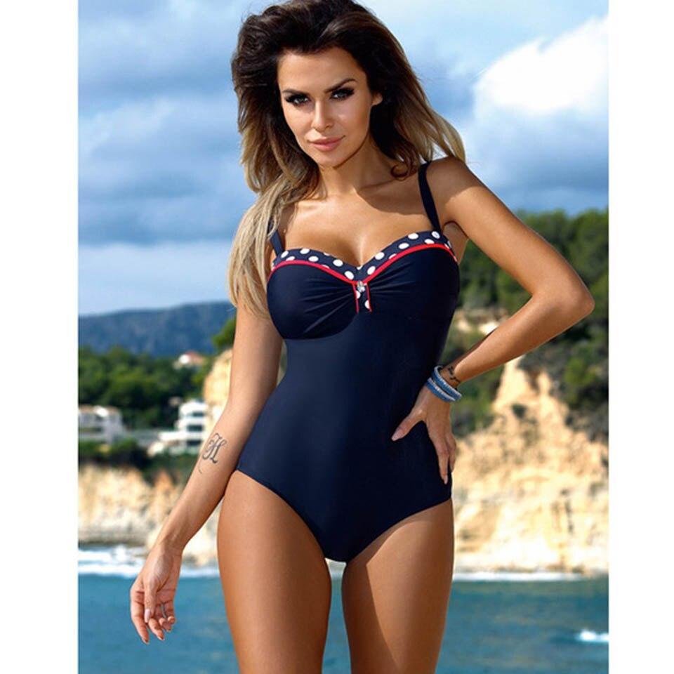 Raintropical 2019 New Plus Size Swimwear One Piece Swimsuit Women Patchwork Slimming Retro Bathing Suits Female Large Swim Wear 2