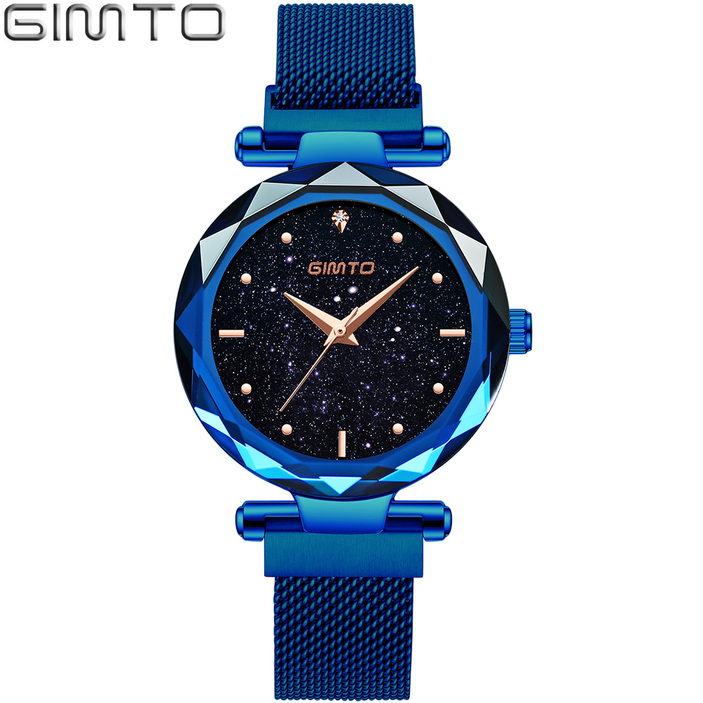 GIMTO Brand Luxury Women Watches Quartz Clock Steel Rose Gold Bracelet Ladies Watch Starry Sky Dress Wristwatch Relogio Feminino gimto big dial gold black skull women watches luxury brand steel male female clock vintage ladies lovers watch relogio feminino