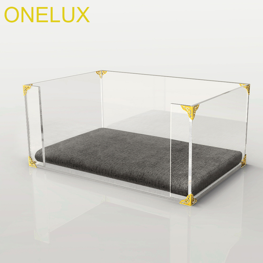 Clear Acrylic Dog/Cat Bed,Lucite Pet Beds With Metal Hardware-61W 40D 25H CM one lux plain and elegant clear transparent plexiglass acrylic bedside table with shelf 40w 30d 45h cm lucite nightstand