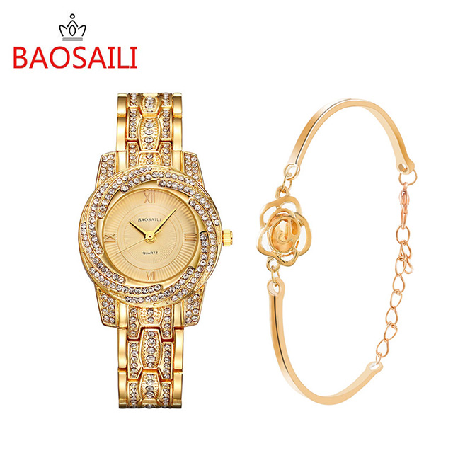 BAOSAILI BSL1030 Gold Plated Shinning Woman Bracelet Watch Set Luxury Rhinestones Ladies Jewelry Watch Set Gift Wristwatch Clock boss bsl 30 blk