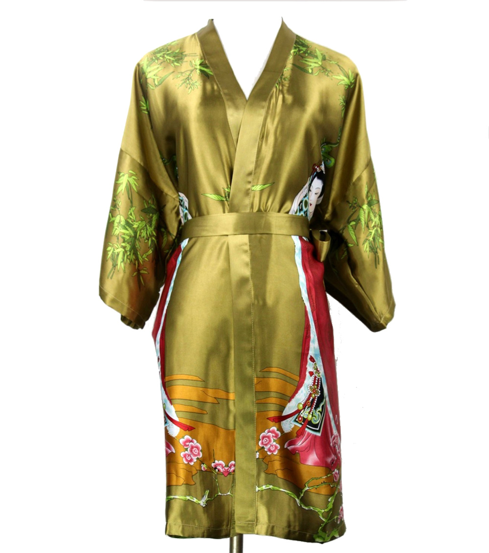 Army Green Chinese Ladies Faux Silk Robe Women Summer Sleepwear Kimono Gown  Feminino Pijama Plus Size S M L XL XXL XXXL NR101-in Robes from Women s  Clothing ... 95403729a846