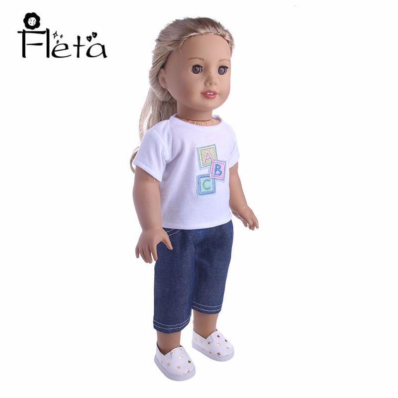 Fleta Doll Handmade White Letter Top + Jeans For 43cm   Doll Or 18-inch American Doll Birthday Gift For Kids