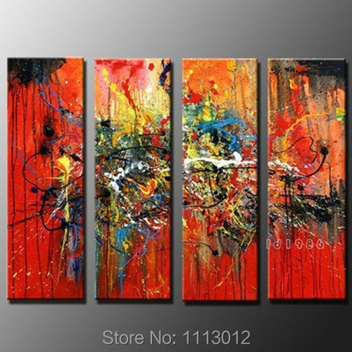Hot Hand-painted Modern Red Line Flower Landscape Oil Painting On Canvas 4 Panel Art Set Home Wall Decor For Living Room Sale