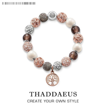 Pulsera Rosa árbol con cuentas estilo Thomas moda Karma joyería regalo para mujeres, en plata esterlina 925 ajuste Ts Charms
