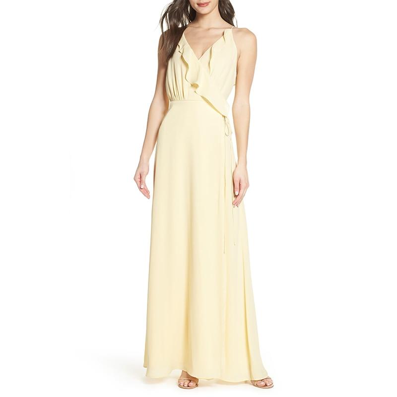 Light Yellow   Bridesmaid     Dresses   2019 Vestido De Festa Longo Flowing Chiffon Women Guest   Dress   Beach Wedding Party