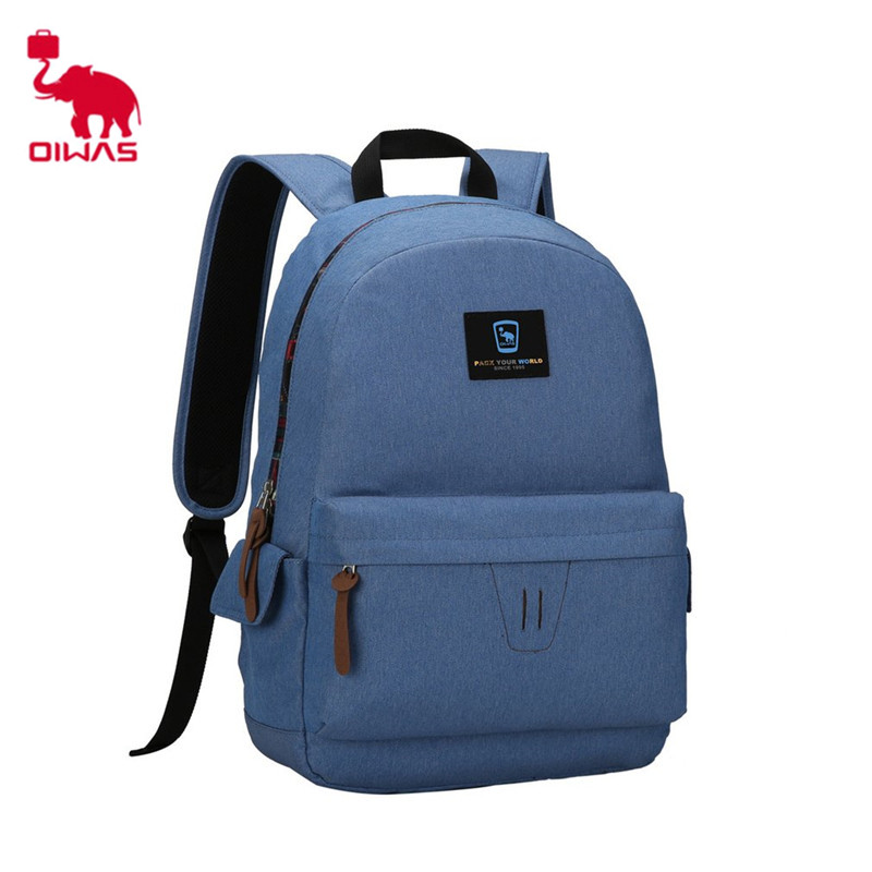 Oiwas Fashionable Leisure Style Laptop Backpack Super Thin and Light Waterproof School Backpack Multi-function Unisex Bag oiwas fashionable polyester cover opening square messenger bag black