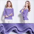 New Women Sexy Off Shoulder Bottom Sweater Solid Long Sleeve Slim Pullover Ladies Bottoming Sweater Casual Knitted Top